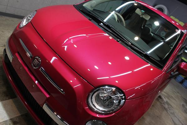 フィアット500 マジェンタ(マゼンタレッド)のカーコーティング