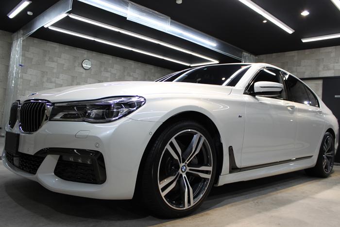 BMW 740i Mスポーツ ミネラルホワイト フロントバンパー1