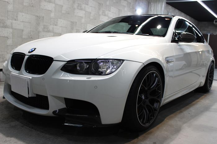 BMW M3 アルピンホワイトIII フロントバンパー左